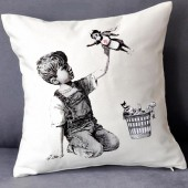 New Banksy Artwork Tribute to NHS Heroes Boy Superhero Nurse Cushion Cover UK