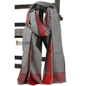 100% Wool Cashmere Pashmina Scarf  (Gray and Red)
