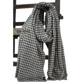 Black and White Houndstooth Scarf Wrap