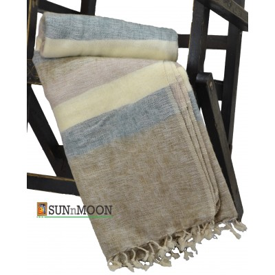 Warm Natural Yak Wool Fiber Stripe Blanket Shawl Scarf Winter