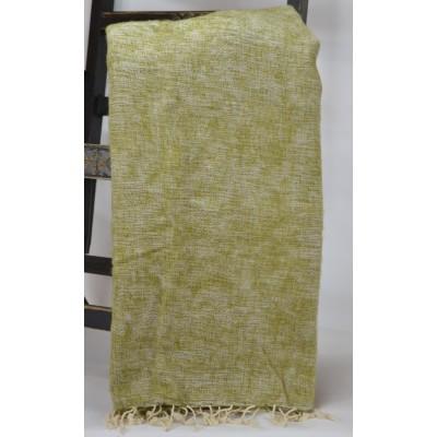 Warm Natural Yak Wool Beige Green Blanket Shawl Scarf Winter