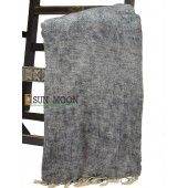 Warm Natural Yak Wool Fiber Black Grey Blanket Shawl Scarf Winter