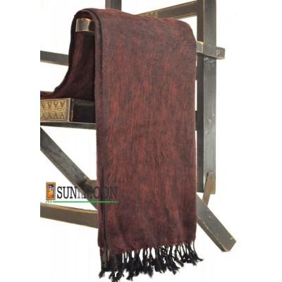 Warm Natural Yak Wool Maroon Black Blanket Shawl Scarf Winter