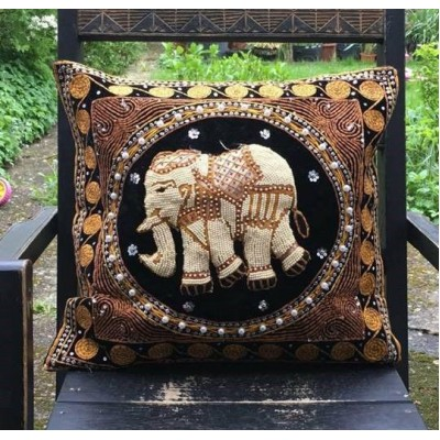 Black Elephant Heavy Beaded Pillow Cushion Cover