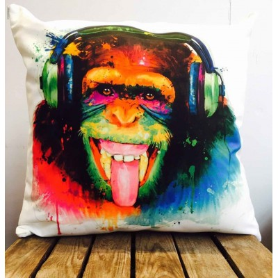 Patrice Murciano Monkey DJ Headphone Ape Tye Dye Cushion Covers Faux Suede