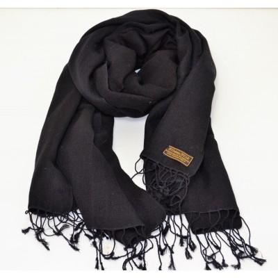 Silk and Pashmina Scarf Black